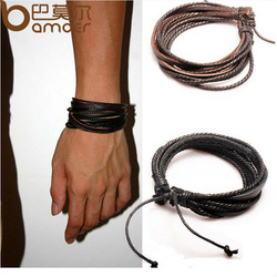 2013 New Arrival Wrap Leather Black and Brown Braided Rope Bracelet for Men and Women Charms Fashion Man Jewelry PI0246(China (Mainland))