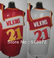 Atlanta #21 Dominique Wilkins Men's Authentic Hardwood Classics Throwback Home White/Road Red Basketball Jersey