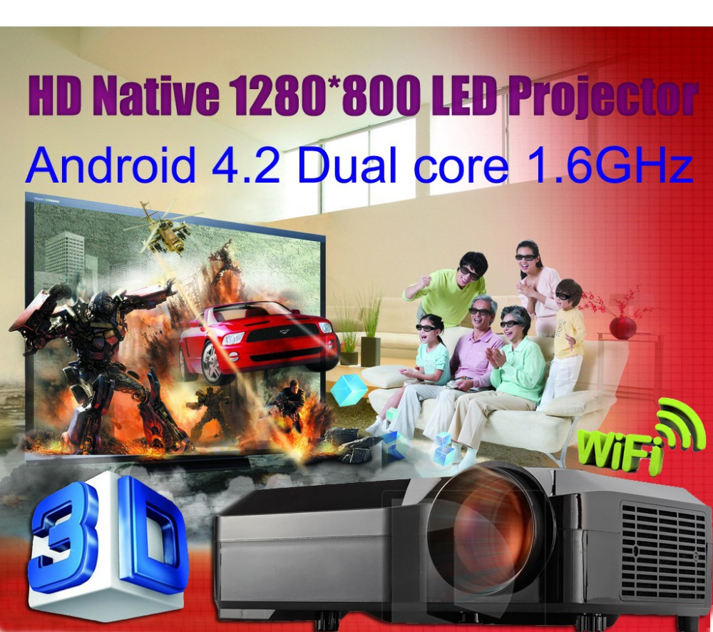 1080p Full HD 2800lumens 1280*800 Video LED Home Theater Projector Beamer Proyector with 2*HDMI 2*USB led lamp 50,000hr(China (Mainland))