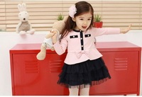 2013 Autumn baby girls dress casual Princess dress cute kids tutu dress kawaii long sleeve children dress C043  free shipping