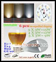 Free shipping 6 pcs Dimmable Bubble Ball Bulb AC85-265V 15W 12W 9W E14 E27 B22 GU10 LED Globe lamp bulb light led lighting