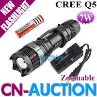FS! SA-9 CREE Q5 LED Flashlight 7W 5 Mode Zoomable LED Torch 400LM + 18650 3.7V Battery + 18650 Charger 5set/lot (CN-SA-9)