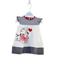 Hot selling 5pcs/lot love cartoon dog A-Line summer dress with bowknot for baby girl kids wear free shipping