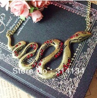 Min.order is $10 (mix order)Europe  American retro golden snake necklace jewelry wholesale