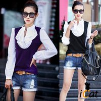 Free shipping 2013 summer women plus size xxxl, xxxxl, vintage royal ruffled collar long sleeve cotton blends top shirt blouses