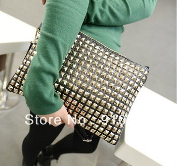 Free shipping 2013 New coming women's handbag fashion rivet tablet computer bag mini shoulder bag