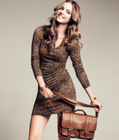 Free shipping sexy 2013 dress spring and summer leopard print slim long-sleeve dress one-piece dress basic for women 2013