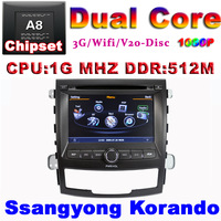 Car DVD for Ssangyong KORANDO with1G CPU 3G Host HD S100 Support DVR screen audio video player Free shipping