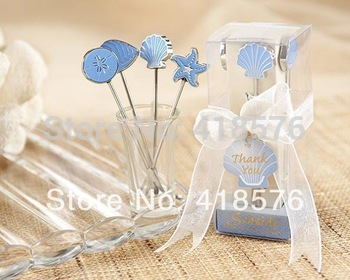 10Set  Home Party Favors Creative Seaside Horsd'oeuvre Picks Fruit fork Boxed With Tag For Home Wedding Party Favors