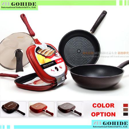 Brand New Original happycall diamond smokeless wok + flat bottom pot + double faced frying pan + lid 4 piece/set(China (Mainland))
