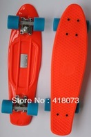 "free shipping 22"" Crazy Complete Skateboard  Board Skate ""Nickel"" Cruiser Skateboard  orange and blue"