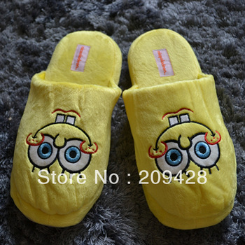 "Free shipping whole sale 10pairs/lot 10"" Spongebob Squarepants plush soft warm cute comfortable slippers"