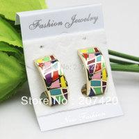 free shipping newest 18K gold enamel jewelry earrings,copper earring stud,1pair/pack
