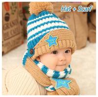 Winter earmuffs baby infants hat sets pentagram smiling face two woolly hat + scarf