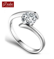 GS brand JZ-5 Free shipping new  925 stamp silver zircon pricess platinum plated female rings/wedding rings vintage jewelry