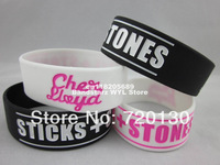 "Sticks + Stones wristband, Silicon bracelet, Cher Lloyd Loyd, 1"" wide band, 2colours, 50ps/lot, free shipping"