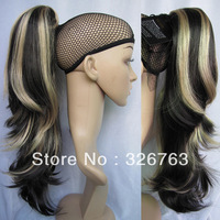 2013 New Women's Ponytail Hairpieces Loose Wavy Highlighted Ponytail Hair Claw on Ponytail Extensions #K4HK15 Black & Blonde