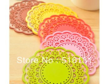 6pcs/lot,Soft Silicone Lace Cup Mats & Pads Coaster