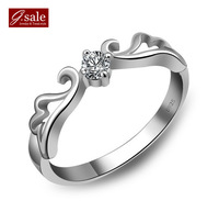 GS brand JZ-9 free shipping new arrivals 925 stamp silver & zircon crystal & platinum plated female rings jewelry