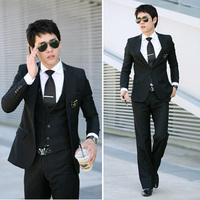 Luxury elegant  male blazer set piece set male Business suit  Three-piece jacket+pants+vest