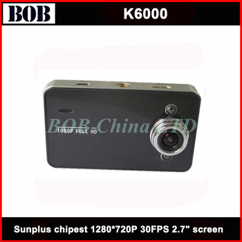 Free Shipping ! Car black box K6000 2.7 inch TFT Screen Real HD1280*720P 30FPS