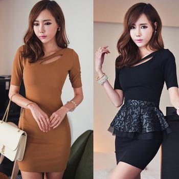 Fashion Women's Ladies Short Sleeve Cocktail Club Party Dress Sexy Bodycon Slip Black White Brown Mini Pencil Free Shipping 0357
