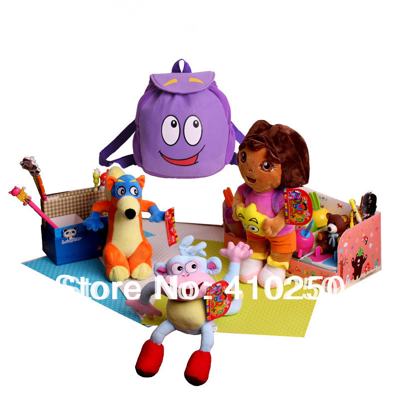 Freeshipping 4PCS/ Toy Set Dora the Explorer Toy Doll for Girls Kids Boots the Monkey Swiper Fox Plush Dora Children Backpack(China (Mainland))