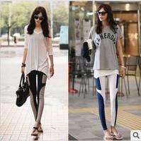 On Sale Womens Slim Patchwork Leggings Blue Skinny Pants Free Shipping Wholesale Milk silk legging ankle lengthCapris Pencil