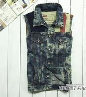 drop shipping Water wash retro finishing flag hole spring 2013 male vest male denim vest denim coat vest