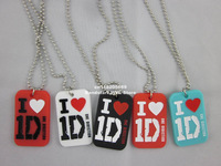 "I Love One Direction 1D Dog Tag,pendant necklace with 24"" ball chain,silicone dog tag,4colours,50pcs/lot,free shipping"