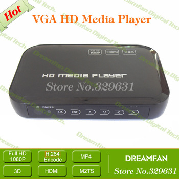 2013 mini media center support hdmi, vga, mkv hdd media player + Free Shipping