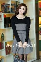 2014 Spring Autumn And Winter Long-Sleeve Woolen one-piece dress black and white lattice woolen patchwork one-piece dress