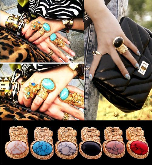 2013 Fashion color exaggerated turquoise black ruby gem gold statement women big celebrity rings punk wholesale free shipping(China (Mainland))