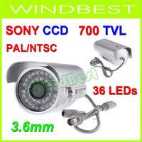 Freeshipping 4PCS/Lot 1/3 SONY CCD Effio-E 700TVL Color IR Day Night Vision Outdoor Security CCTV Camera 36 LEDS 3.6mm PAL/NTSC