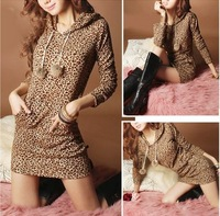 2014 New Fashion Hooded Spring Winter Dresses For Women/Brand Leopard Printed Women Bodycon Dresses/Casual Women Clothing