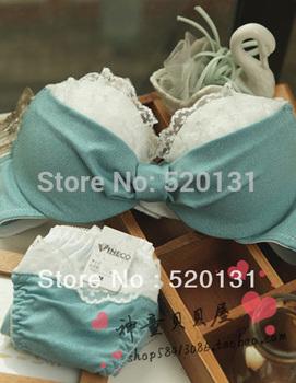 2014 New fashion Hot-selling cake denim lace push up bra quality bra underwear set  Intimates Wholesale + retail