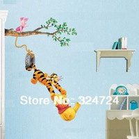Freeshipping  Popular Kids room Decoration Cartoon  bear  and Tigger5pcs/lot  wholesale wall sticker