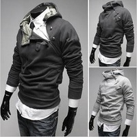 The new 2014 men's clothing han edition inclined zipper, metal buckle fleece thickening male hooded/free shipping
