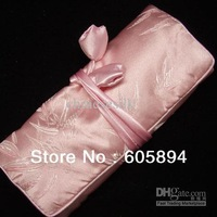5pcs/lot Free shipping Large Pink Jewelry Rolls Travel Bag  Storage Cases Silk Fabric  Zipper Drawstring Packaging Pouch