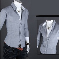 Free Shipping 2013 New Men Shirt Men's Leisure Brighter Shirts Casual Slim Dress Shirts Men's Clothing 5 Colors US Size XS S M L