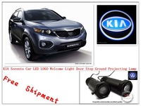 Free ship KIA LOGO Car LED Emblem Welcome Light Door Step Ground Projecting Lamp For Forte Ceed Soul Rio Sorento