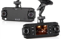 HD car camcorder dual cam HOTSALE w/g-sensor car dvr cam GPS camera X8000