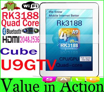 [ New Arrival in April ] 9.7 inch Cube U9GTV U9GT5 Quad Core RK3188 Android Tablet PC 2048x1536 Retina Screen 2GB RAM Bluetooth