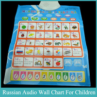 Russian Language Cognitive Flip Charts Baby Early Educational Chart Sound Letters Learning Music Toys Game 1Pcs Free shipping
