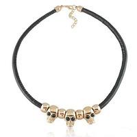 punk style jewelry personality skeleton chunky leather chain choker necklace Free Shipping HeHuanXL121