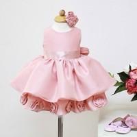 France Style!!Romantic Rose!Girls Flower formal princess wedding dress female Children's /baby girl new year party ball dress