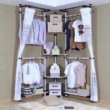 HighQuality New Design Corner Large simple Metal wardrobe non-woven wardrobe steelframe cloth wardrobe furniture storage cabinet(China (Mainland))