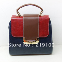 New 2013 Fashion color block vintage bag small cross-body shoulder bags for women Leather handbag