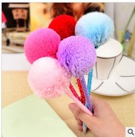 Super cute Fluffy ball Ballpoint Pen Korea stationery bow plush pen fur ball ballpoint pen portable pen