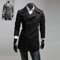 2013 new winter asymmetry pocket design double-breasted men's wool coat windbreaker  125028